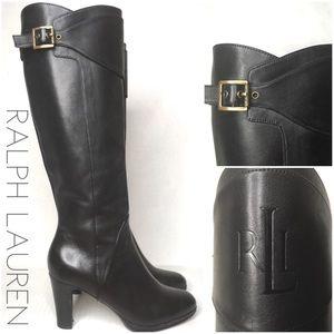 Ralph Lauren tall black leather heeled boots 5.5